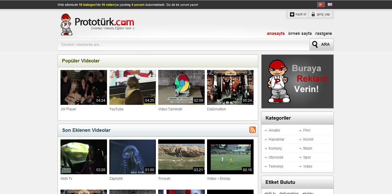 screenshot Prototürk WordPress Video Teması